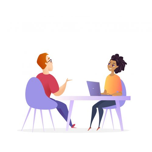 Job Interview Meeting. Hr Manager Vector Character. Woman by Laptop make Conversation with Man for Business Corporate Position. Effective Hiring Research Concept. Recruitment Cartoon Illustration