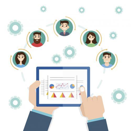 interaction structure. Management concept. Remote business. Project management.